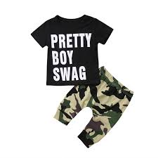 2018 Pretty Boy Swag Newborn Baby Boys Girl Kids T shirt Tops+Camo Pants  Leggings Outfit|baby boy|baby outfits newbornnewborn baby boy - AliExpress